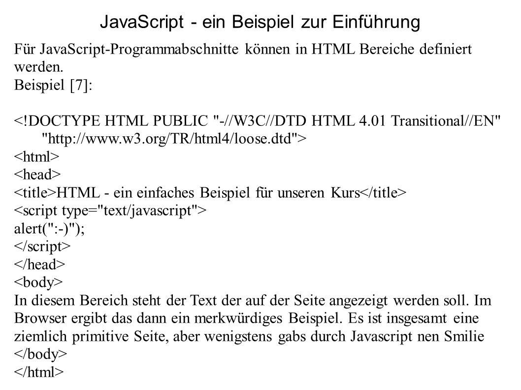JavaScript - ein Beispiel zur Einführung