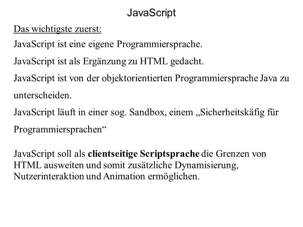 JavaScript Das wichtigste zuerst: