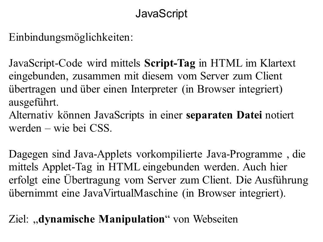 JavaScript Einbindungsmöglichkeiten: