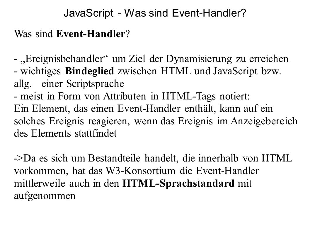 JavaScript - Was sind Event-Handler