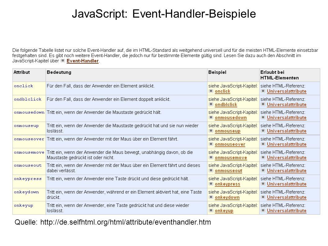 JavaScript: Event-Handler-Beispiele