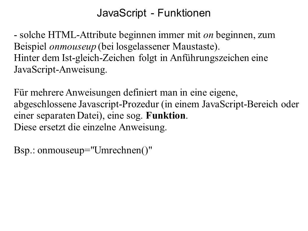 JavaScript - Funktionen