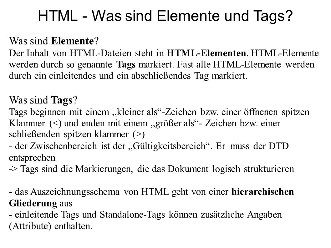 HTML - Was sind Elemente und Tags