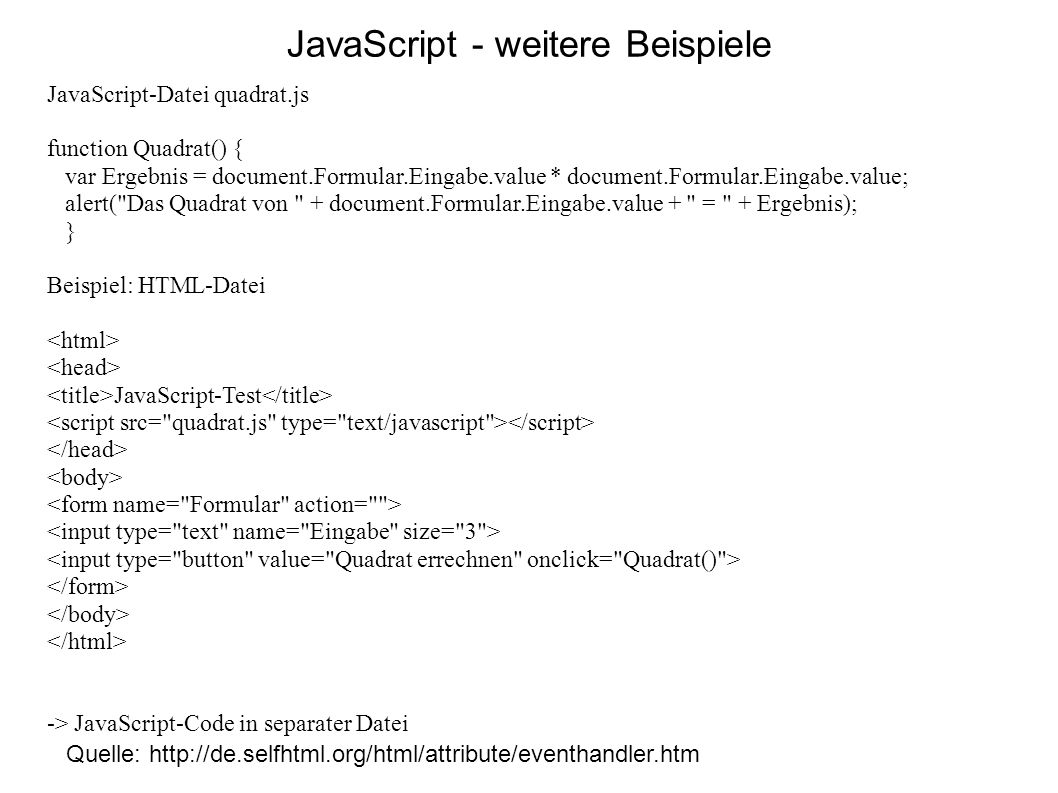 JavaScript - weitere Beispiele
