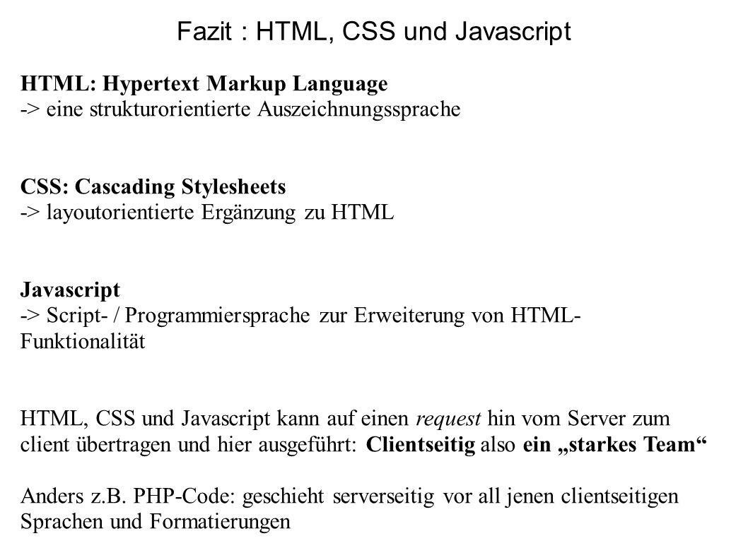 Fazit : HTML, CSS und Javascript