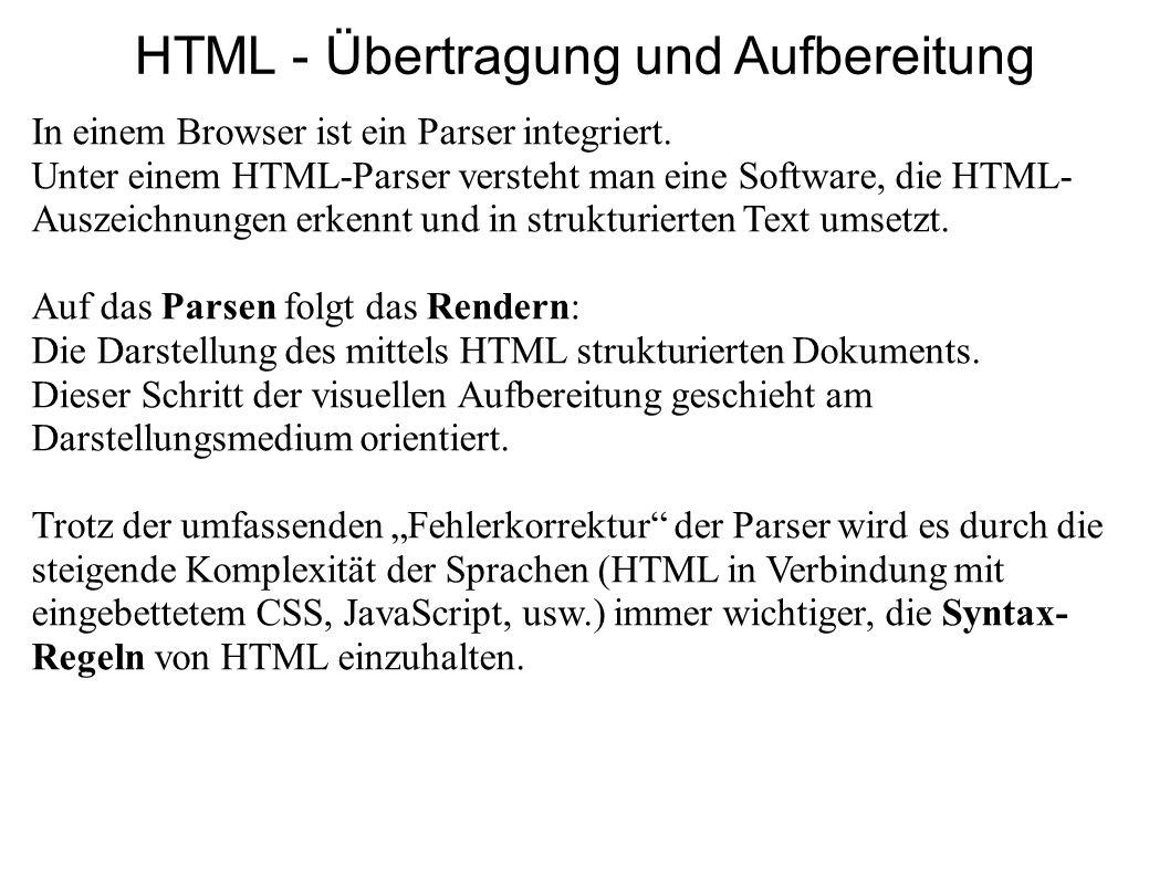 HTML - Übertragung und Aufbereitung