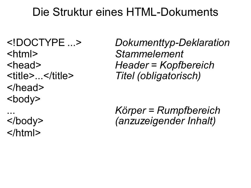 Die Struktur eines HTML-Dokuments