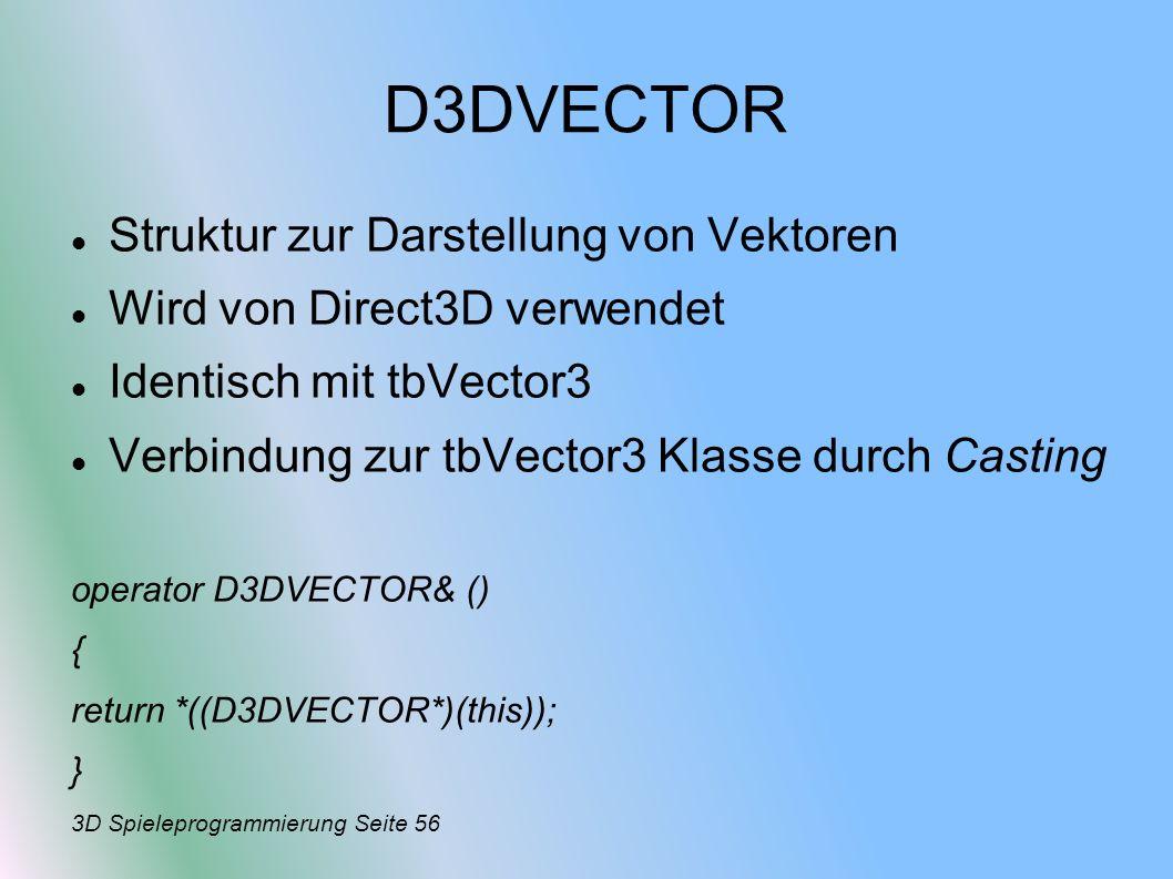 D3DVECTOR Struktur zur Darstellung von Vektoren
