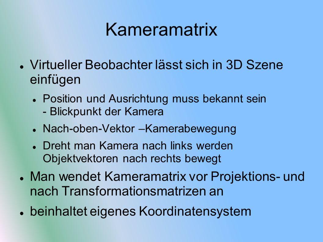 Kameramatrix Virtueller Beobachter lässt sich in 3D Szene einfügen