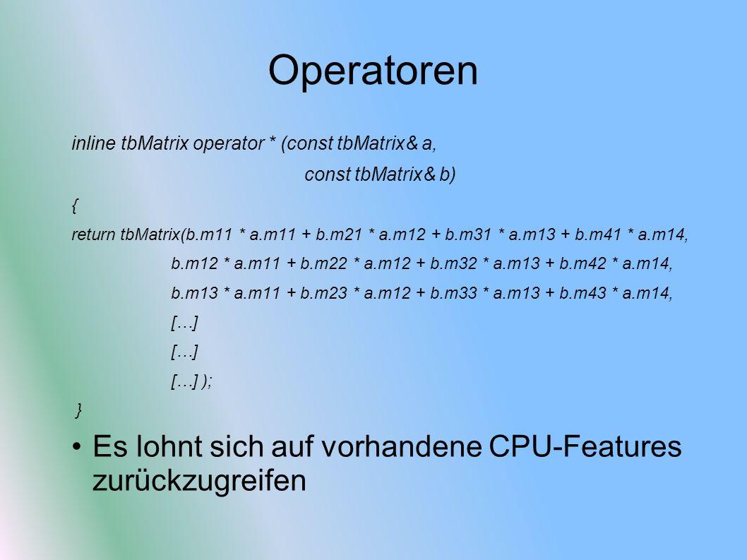 Operatoren Es lohnt sich auf vorhandene CPU-Features zurückzugreifen