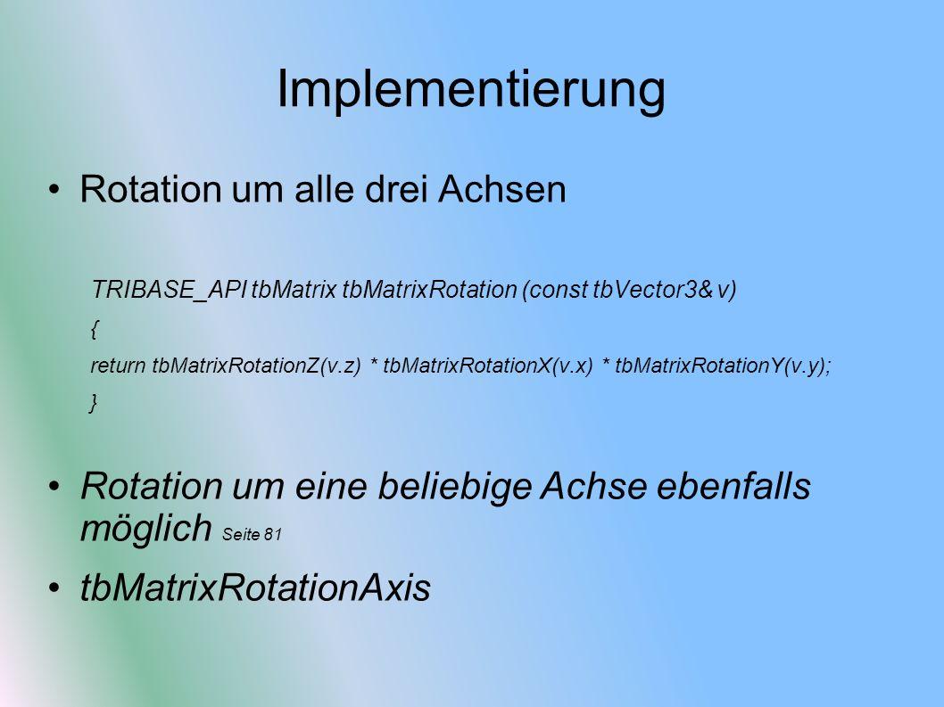 Implementierung Rotation um alle drei Achsen