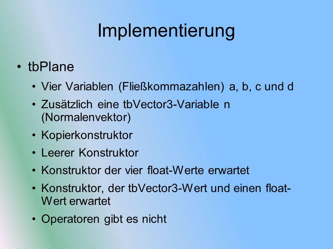 Implementierung tbPlane