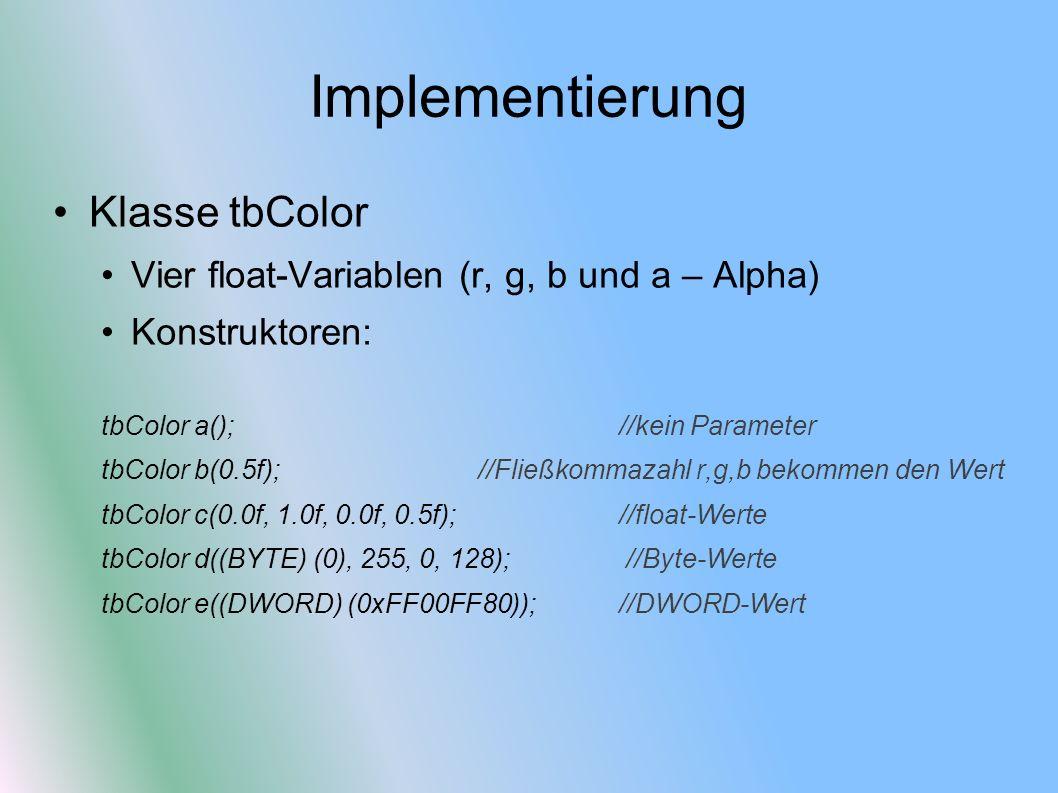 Implementierung Klasse tbColor