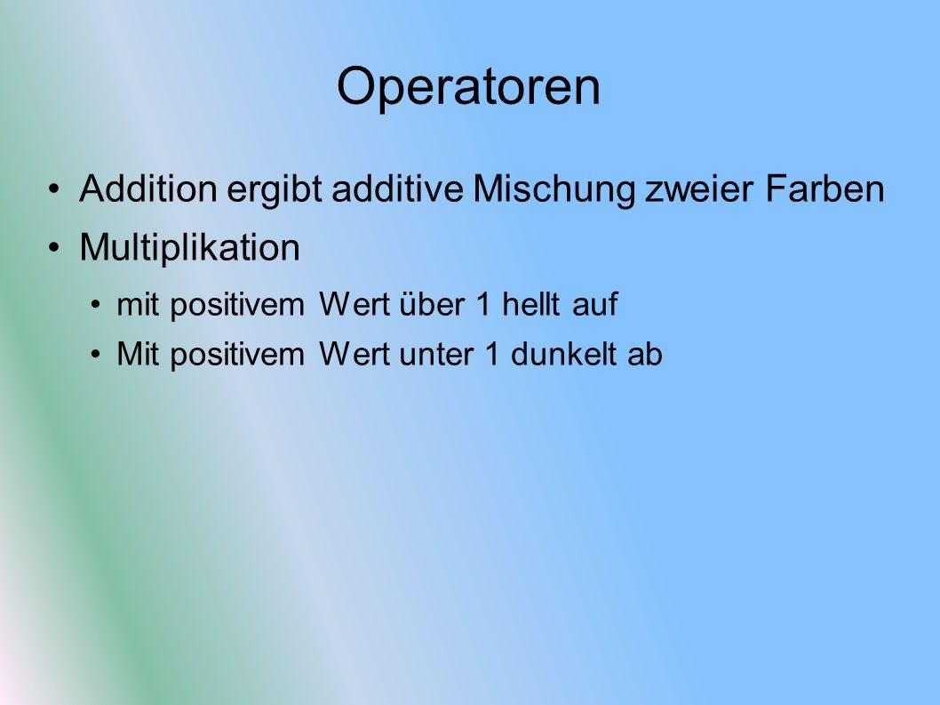 Operatoren Addition ergibt additive Mischung zweier Farben