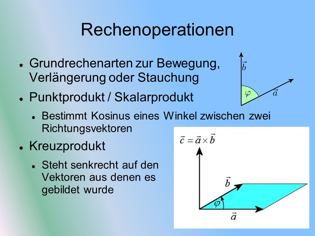 Rechenoperationen Grundrechenarten zur Bewegung, Verlängerung oder Stauchung. Punktprodukt / Skalarprodukt.