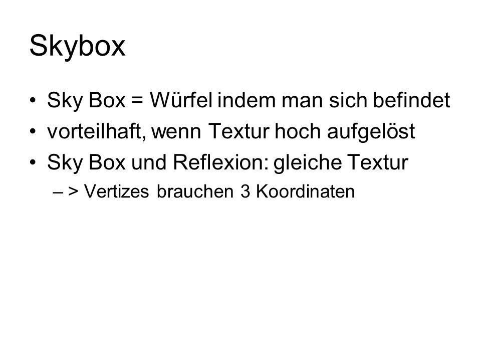 Skybox Sky Box = Würfel indem man sich befindet