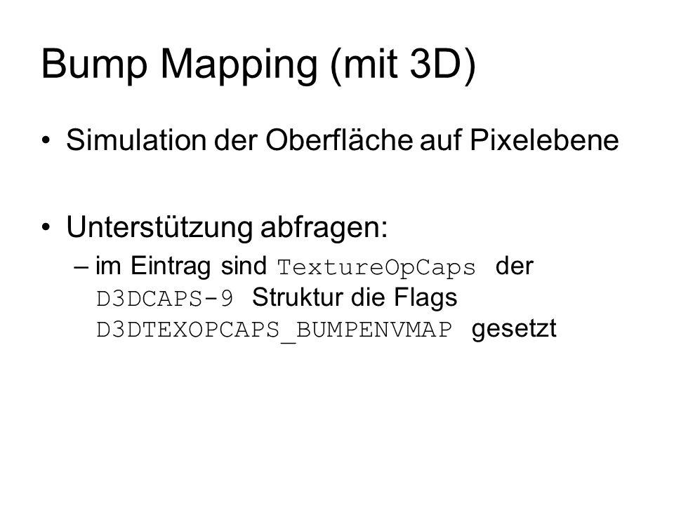 Bump Mapping (mit 3D) Simulation der Oberfläche auf Pixelebene