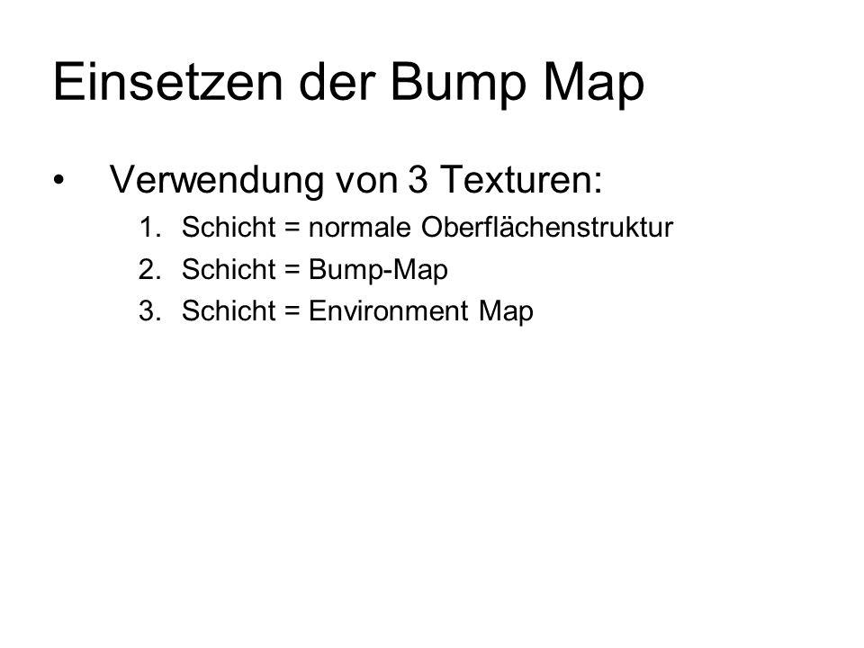 Einsetzen der Bump Map Verwendung von 3 Texturen: