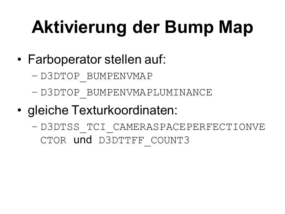 Aktivierung der Bump Map