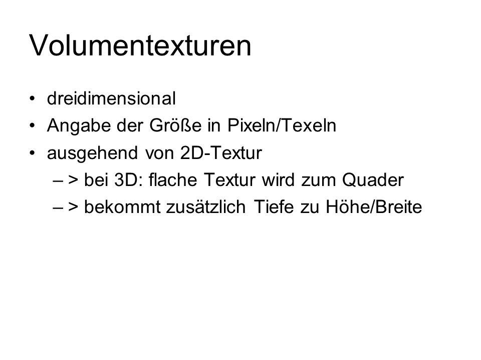 Volumentexturen dreidimensional Angabe der Größe in Pixeln/Texeln