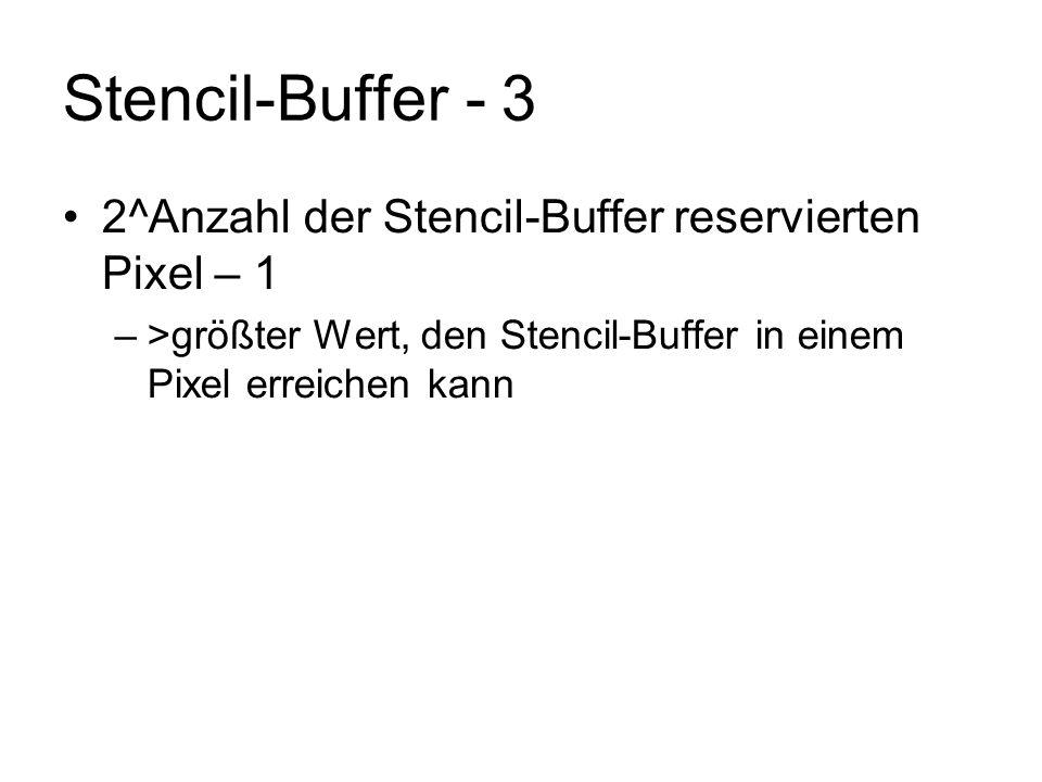Stencil-Buffer - 3 2^Anzahl der Stencil-Buffer reservierten Pixel – 1
