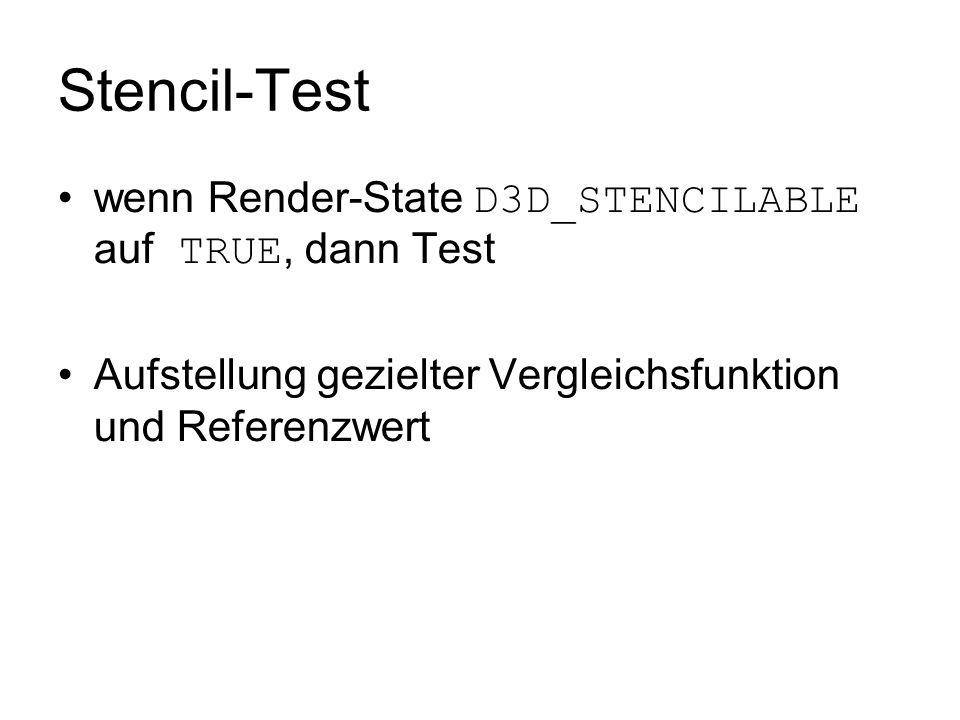 Stencil-Test wenn Render-State D3D_STENCILABLE auf TRUE, dann Test
