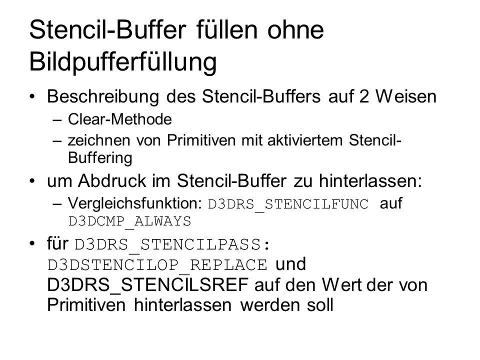 Stencil-Buffer füllen ohne Bildpufferfüllung