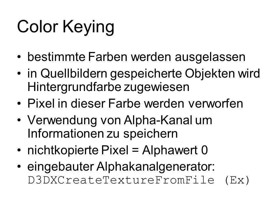 Color Keying bestimmte Farben werden ausgelassen