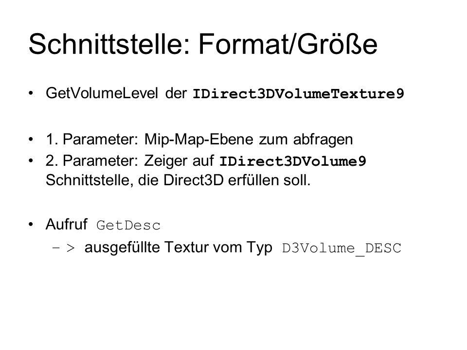 Schnittstelle: Format/Größe