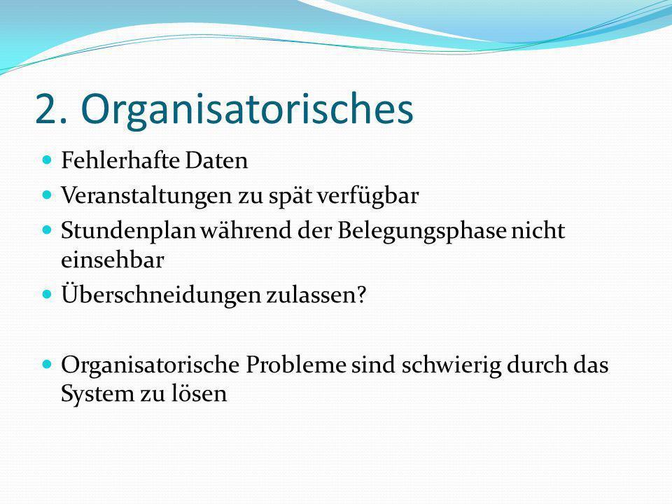 2. Organisatorisches Fehlerhafte Daten