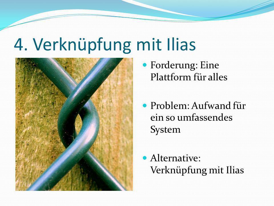 4. Verknüpfung mit Ilias Forderung: Eine Plattform für alles