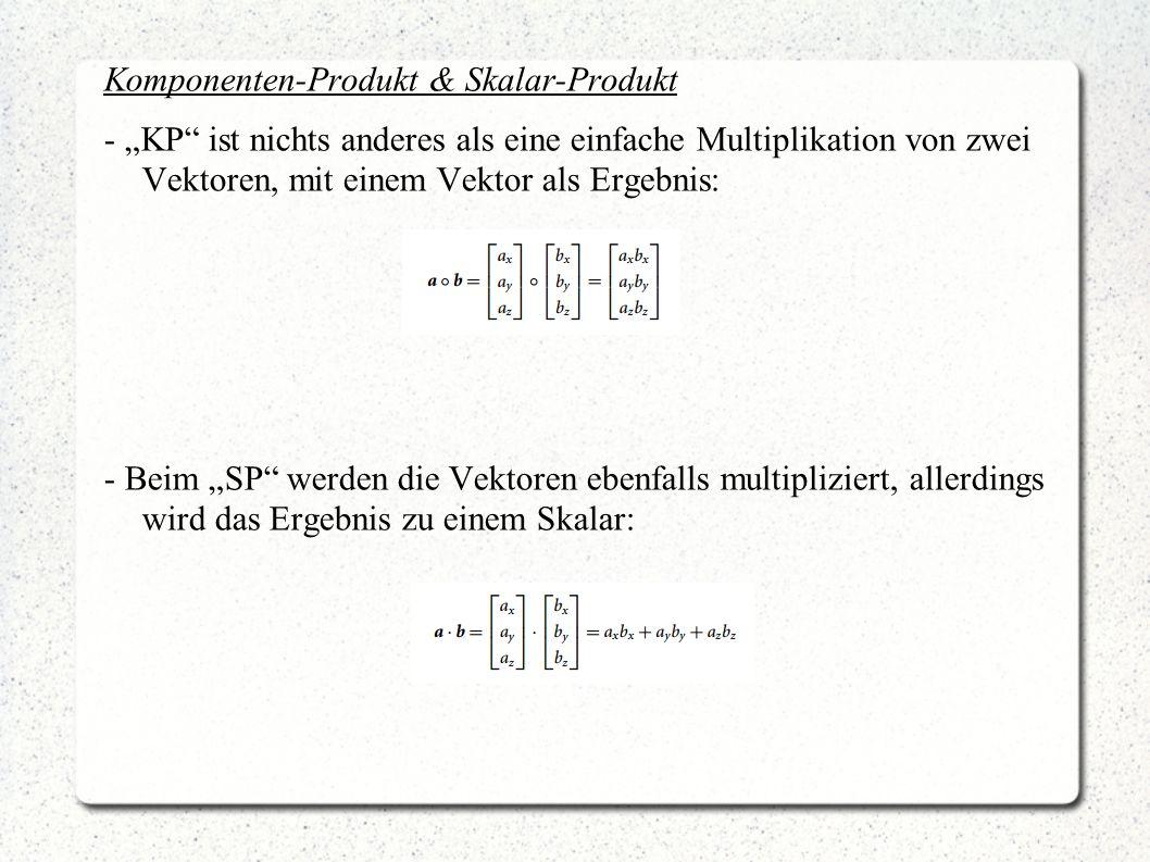Komponenten-Produkt & Skalar-Produkt