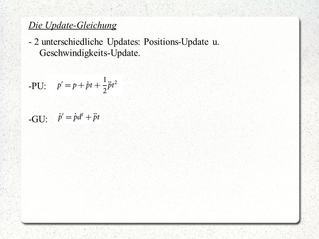 Die Update-Gleichung - 2 unterschiedliche Updates: Positions-Update u. Geschwindigkeits-Update. -PU: