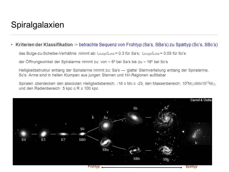 Spiralgalaxien Kriterien der Klassifikation -> betrachte Sequenz von Frühtyp (Sa's, SBa's) zu Spättyp (Sc's, SBc's)
