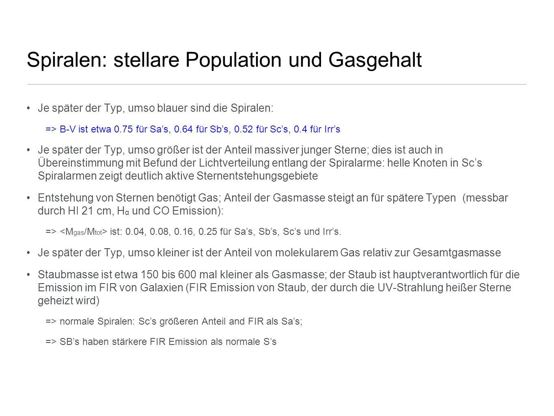 Spiralen: stellare Population und Gasgehalt
