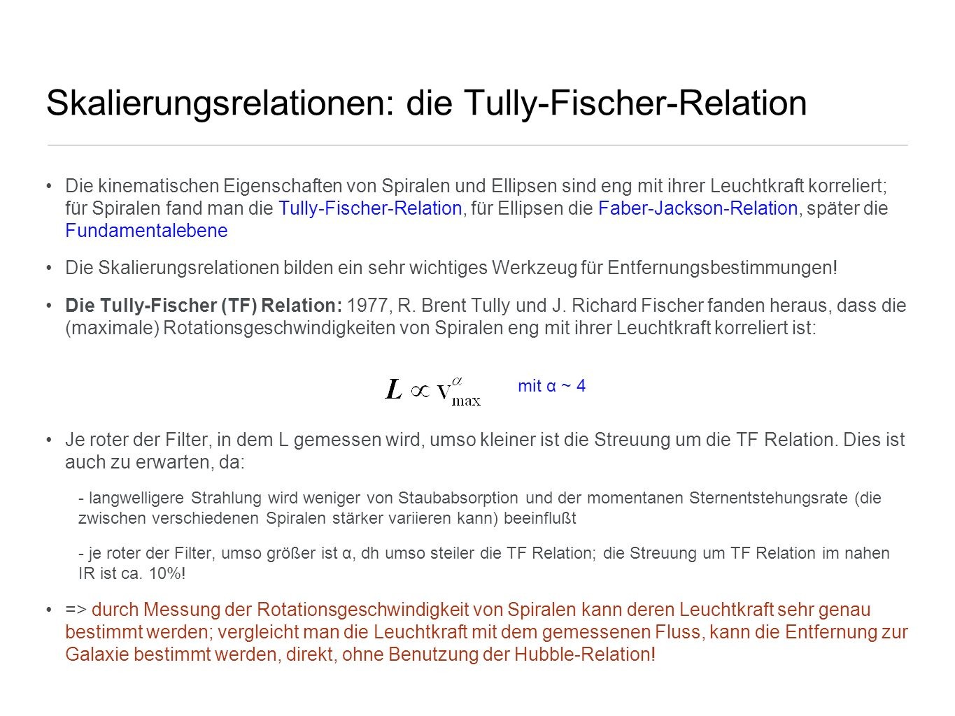 Skalierungsrelationen: die Tully-Fischer-Relation