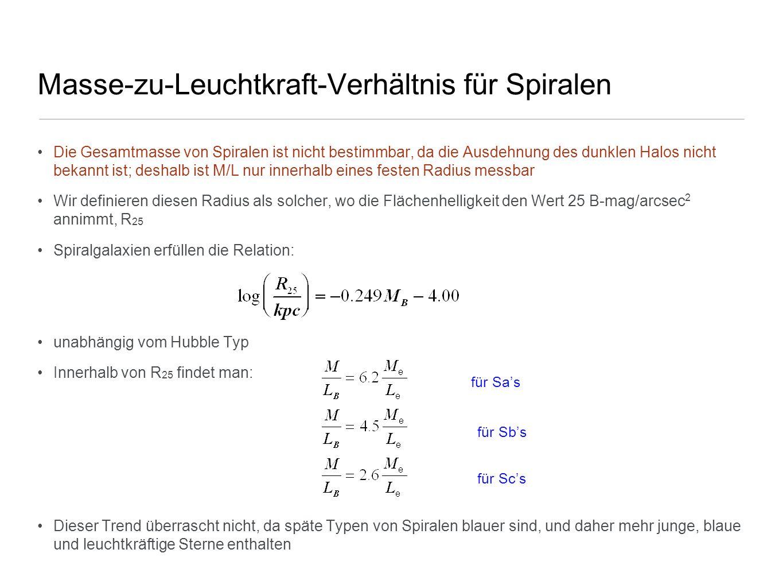 Masse-zu-Leuchtkraft-Verhältnis für Spiralen