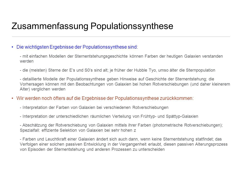 Zusammenfassung Populationssynthese