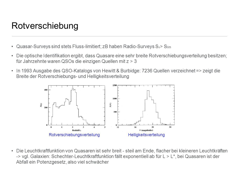 Rotverschiebung Quasar-Surveys sind stets Fluss-limitiert; zB haben Radio-Surveys Sν> Slim.