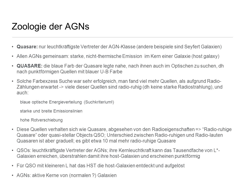 Zoologie der AGNs Quasare: nur leuchtkräftigste Vertreter der AGN-Klasse (andere beispiele sind Seyfert Galaxien)