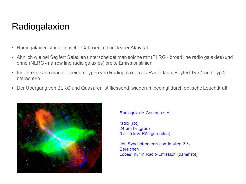 Radiogalaxien Radiogalaxien sind elliptische Galaxien mit nuklearer Aktivität.