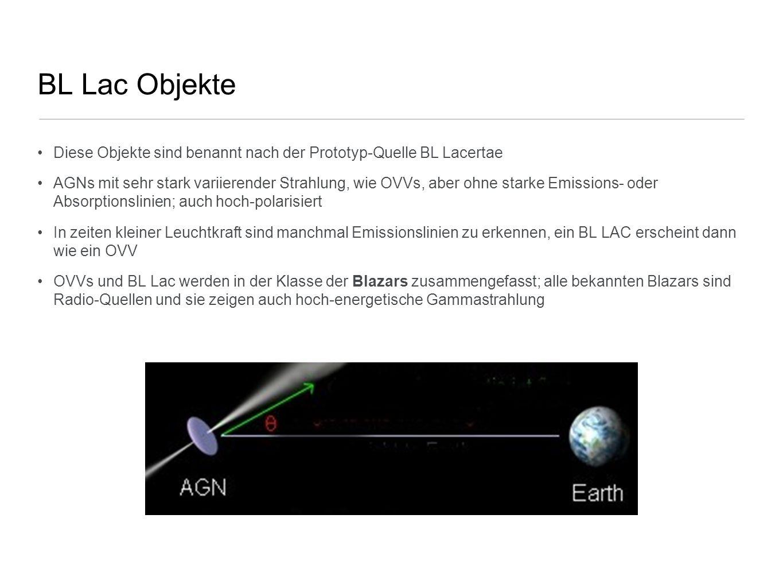 BL Lac Objekte Diese Objekte sind benannt nach der Prototyp-Quelle BL Lacertae.