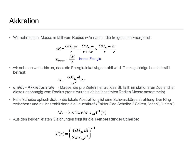 Akkretion Wir nehmen an, Masse m fällt vom Radius r+Δr nach r; die freigesetzte Energie ist: