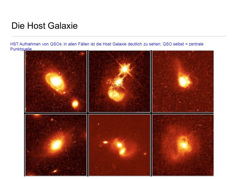 Die Host Galaxie HST Aufnahmen von QSOs: in allen Fällen ist die Host Galaxie deutlich zu sehen; QSO selbst = zentrale Punktquelle.