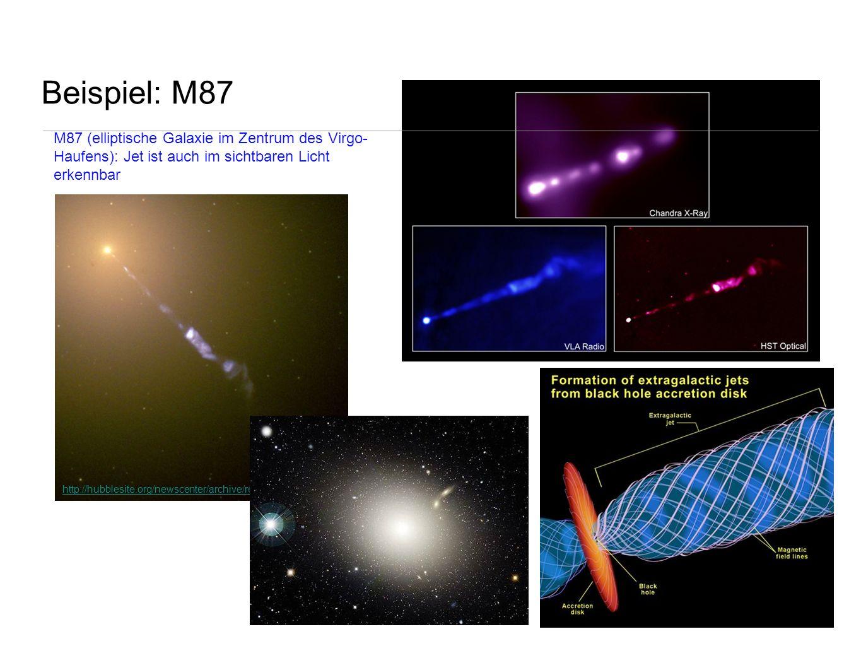 Beispiel: M87 M87 (elliptische Galaxie im Zentrum des Virgo-Haufens): Jet ist auch im sichtbaren Licht erkennbar.