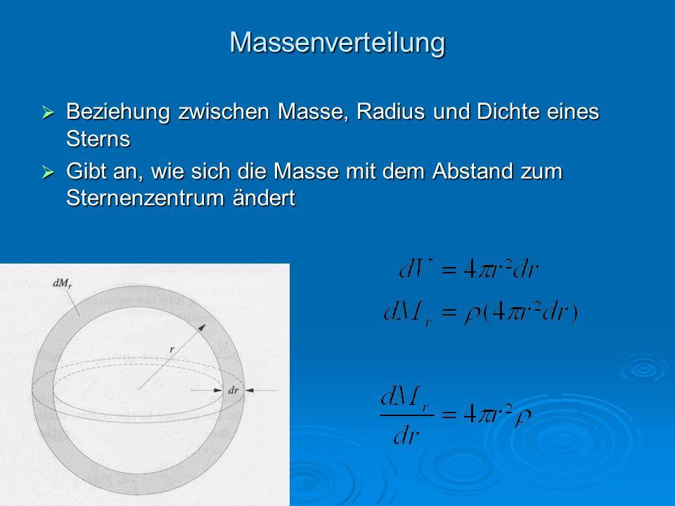Massenverteilung Beziehung zwischen Masse, Radius und Dichte eines Sterns.