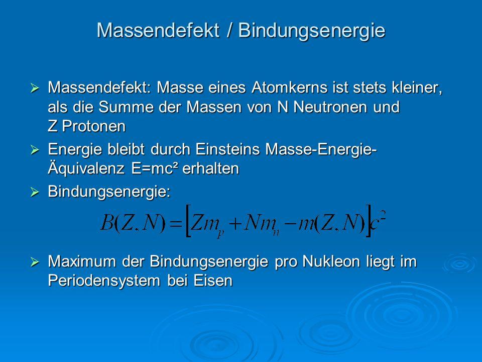 Massendefekt / Bindungsenergie