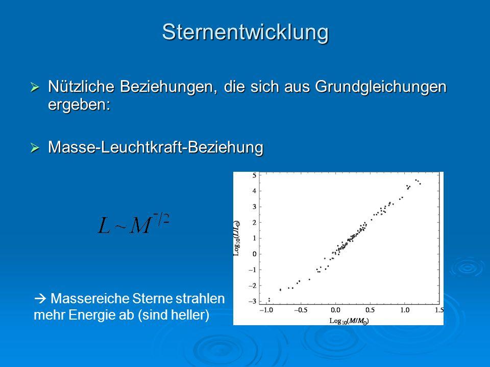 Sternentwicklung Nützliche Beziehungen, die sich aus Grundgleichungen ergeben: Masse-Leuchtkraft-Beziehung.