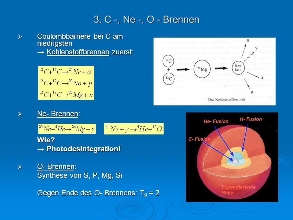 3. C -, Ne -, O - Brennen Coulombbarriere bei C am niedrigsten