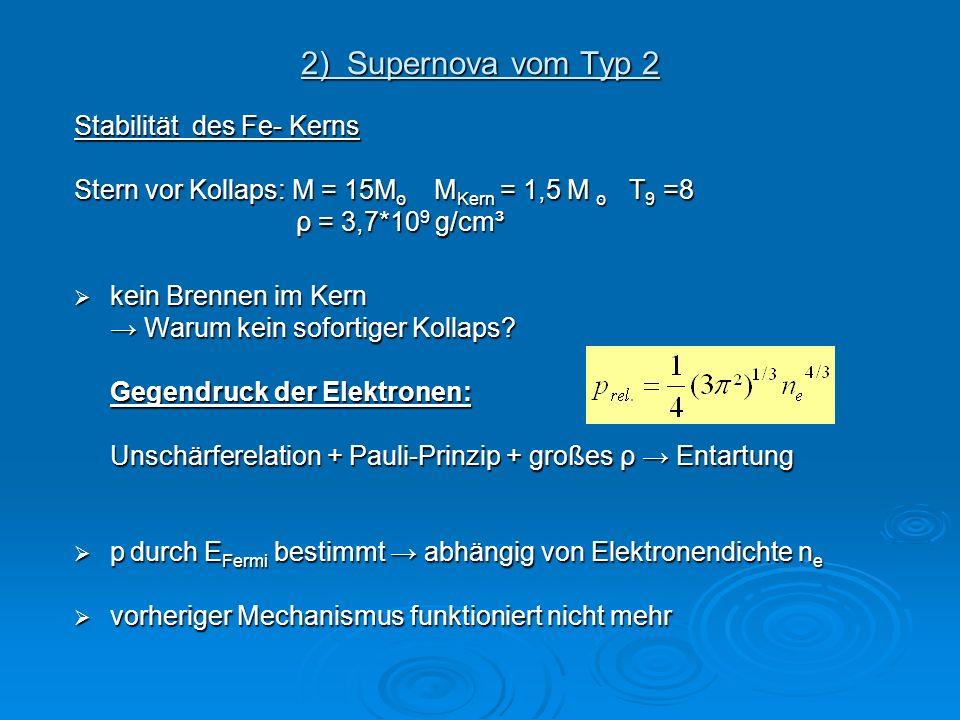 2) Supernova vom Typ 2 Stabilität des Fe- Kerns